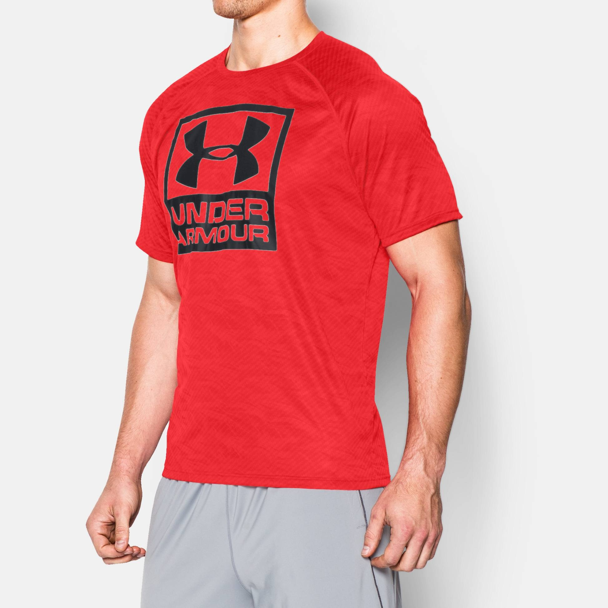 Fitness clothing under armour boxed logo printed t shirt for Gym printed t shirts