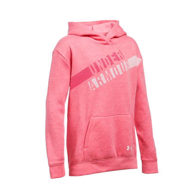 Girl/'s Under Armour Threadborne Printed Pink Gray Fleece Hoodie Choose Your Size